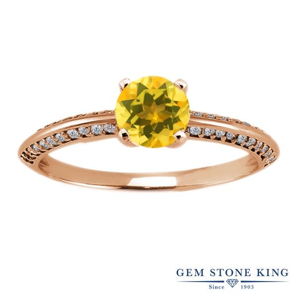 Gem Stone King 1.03カラット 天然 シトリン シルバー925 ピンクゴールドコーティング 指輪 リング レディース 小粒 天然石 11月 誕生石 金属アレルギー対応 誕生日プレゼント