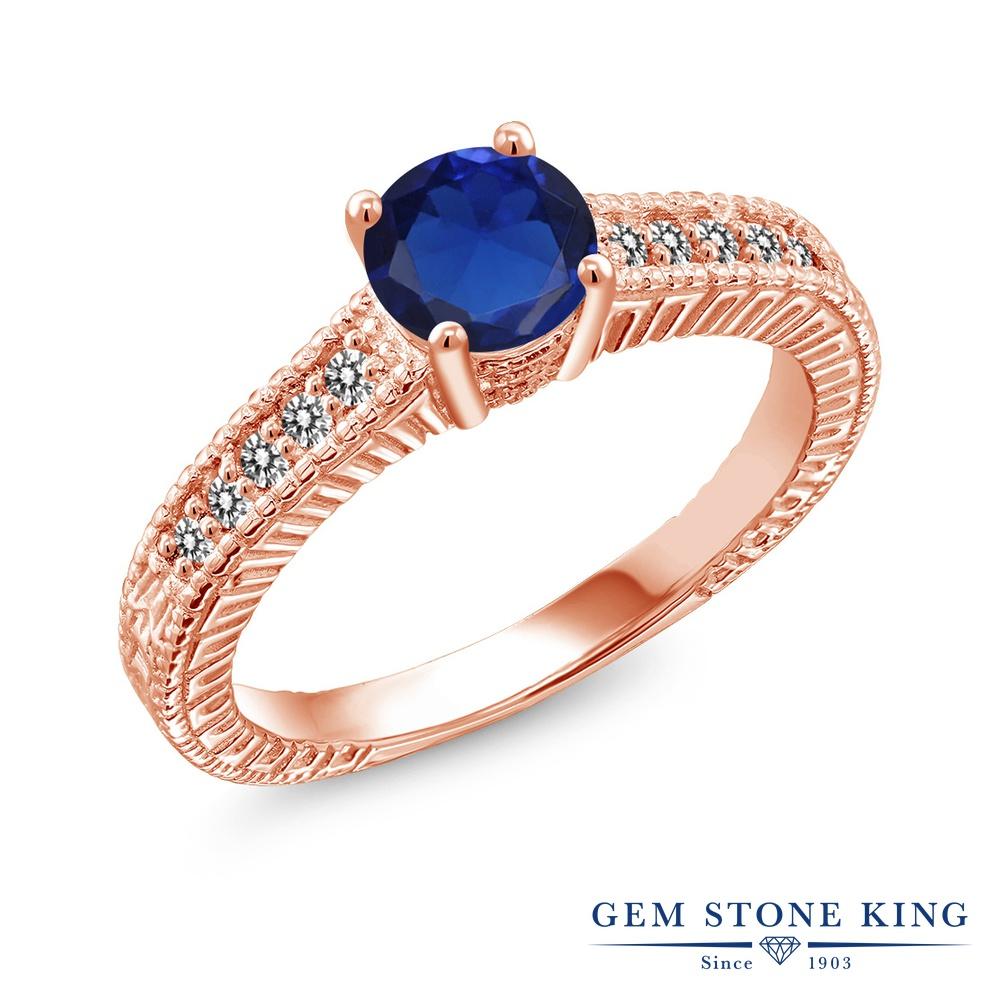【10%OFF】 Gem Stone King 0.92カラット シミュレイテッド サファイア 天然 ダイヤモンド 指輪 リング レディース シルバー925 ピンクゴールド 加工 マルチストーン クリスマスプレゼント 女性 彼女 妻 誕生日