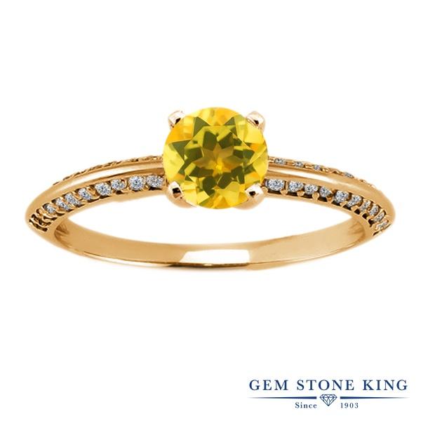 Gem Stone King 1.03カラット 天然 シトリン シルバー925 イエローゴールドコーティング 指輪 リング レディース 小粒 天然石 11月 誕生石 金属アレルギー対応 誕生日プレゼント