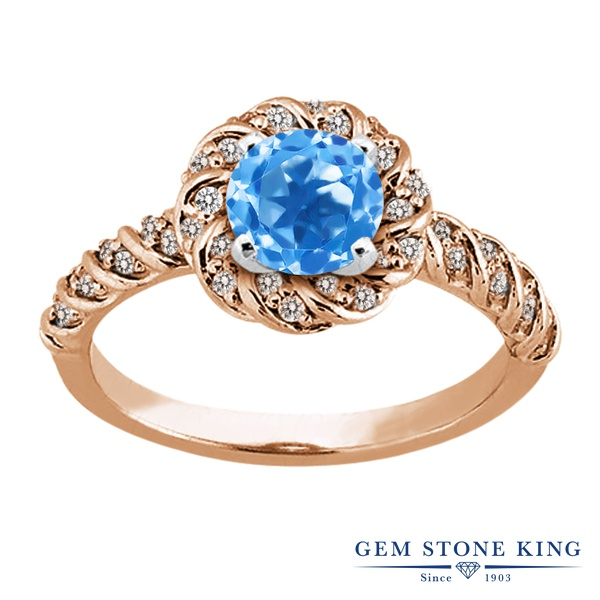 【10%OFF】 Gem Stone King 1.98カラット 天然 スイスブルートパーズ 指輪 リング レディース シルバー925 ピンクゴールド 加工 大粒 天然石 11月 誕生石 クリスマスプレゼント 女性 彼女 妻 誕生日