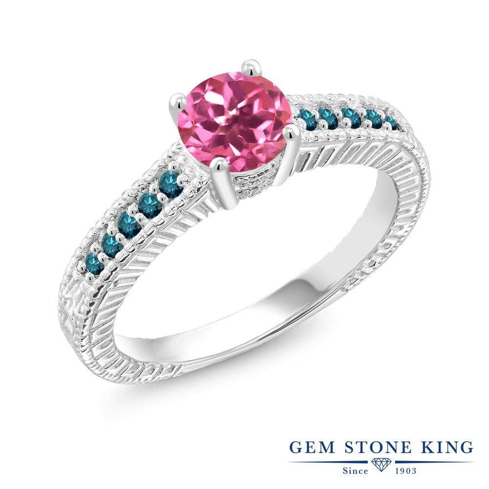 Gem Stone King 1.17カラット 天然 ミスティックトパーズ (ピンク) 天然 ブルーダイヤモンド シルバー925 指輪 リング レディース 大粒 マルチストーン 天然石 金属アレルギー対応 誕生日プレゼント