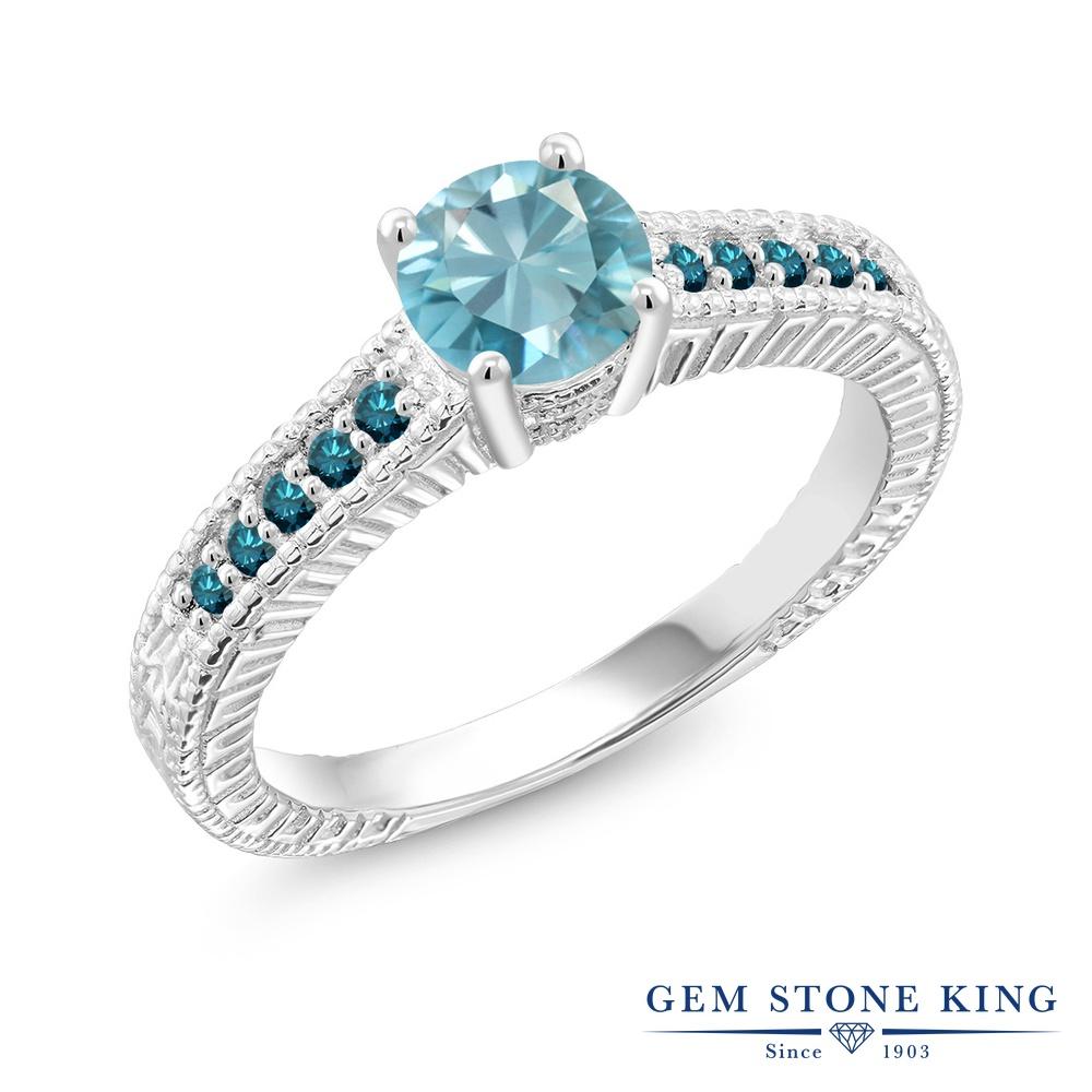 Gem Stone King 1.37カラット 天然石 ブルージルコン 天然 ブルーダイヤモンド シルバー925 指輪 リング レディース 大粒 マルチストーン 天然石 12月 誕生石 金属アレルギー対応 誕生日プレゼント