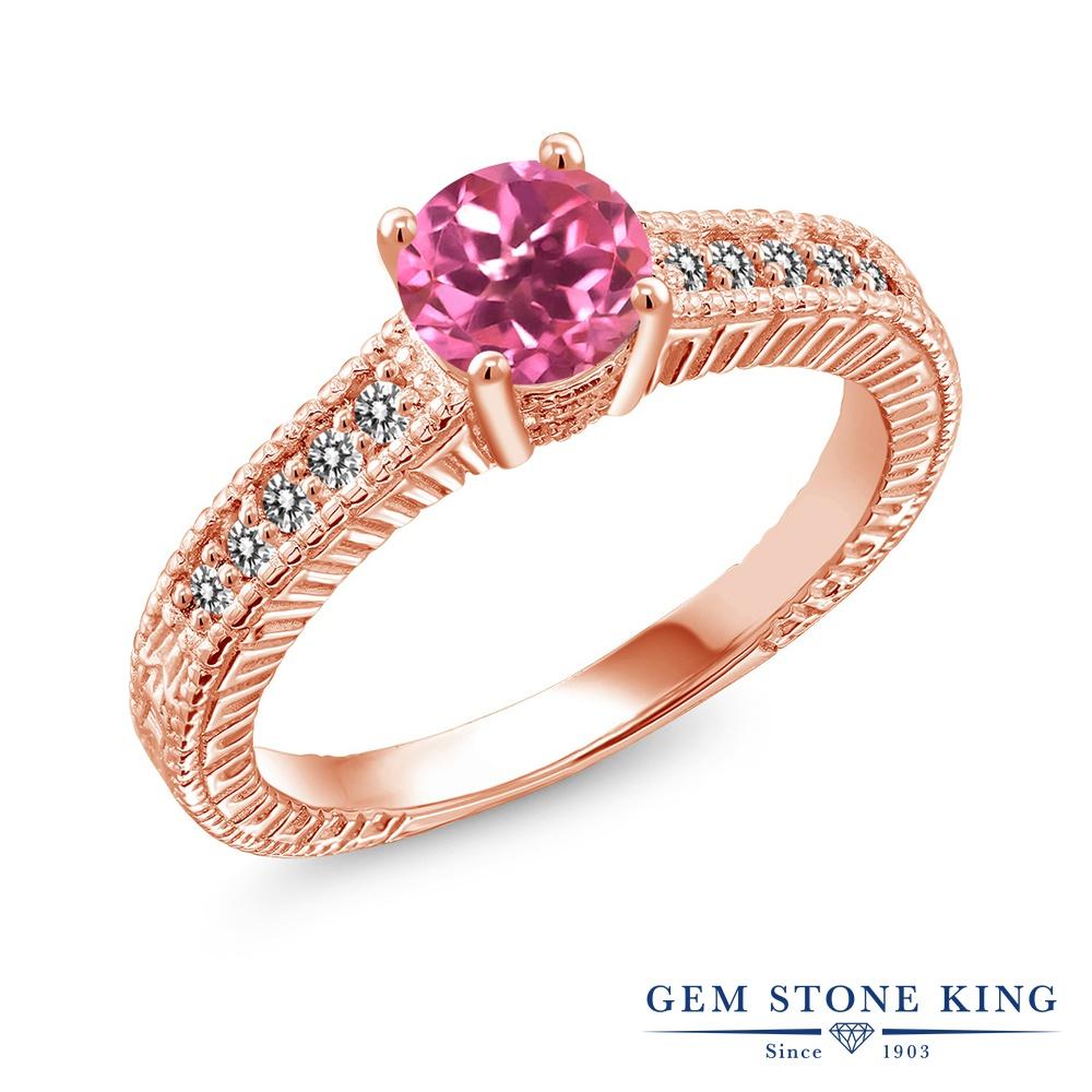 【10%OFF】 Gem Stone King 1.17カラット 天然 ミスティックトパーズ (ピンク) ダイヤモンド 指輪 リング レディース シルバー925 ピンクゴールド 加工 大粒 マルチストーン 天然石 クリスマスプレゼント 女性 彼女 妻 誕生日