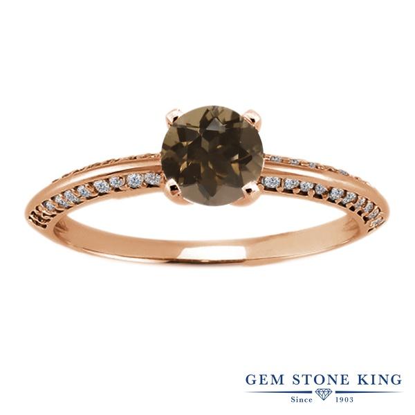 Gem Stone King 1.04カラット 天然 スモーキークォーツ (ブラウン) シルバー925 ピンクゴールドコーティング 指輪 リング レディース 小粒 天然石 金属アレルギー対応 誕生日プレゼント