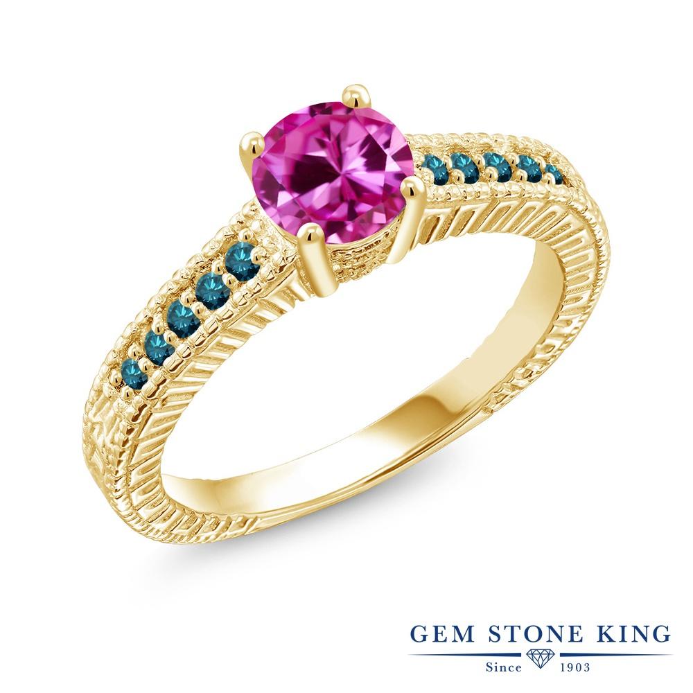 Gem Stone King 1.17カラット 合成ピンクサファイア 天然 ブルーダイヤモンド シルバー925 イエローゴールドコーティング 指輪 リング レディース 大粒 マルチストーン 金属アレルギー対応 誕生日プレゼント