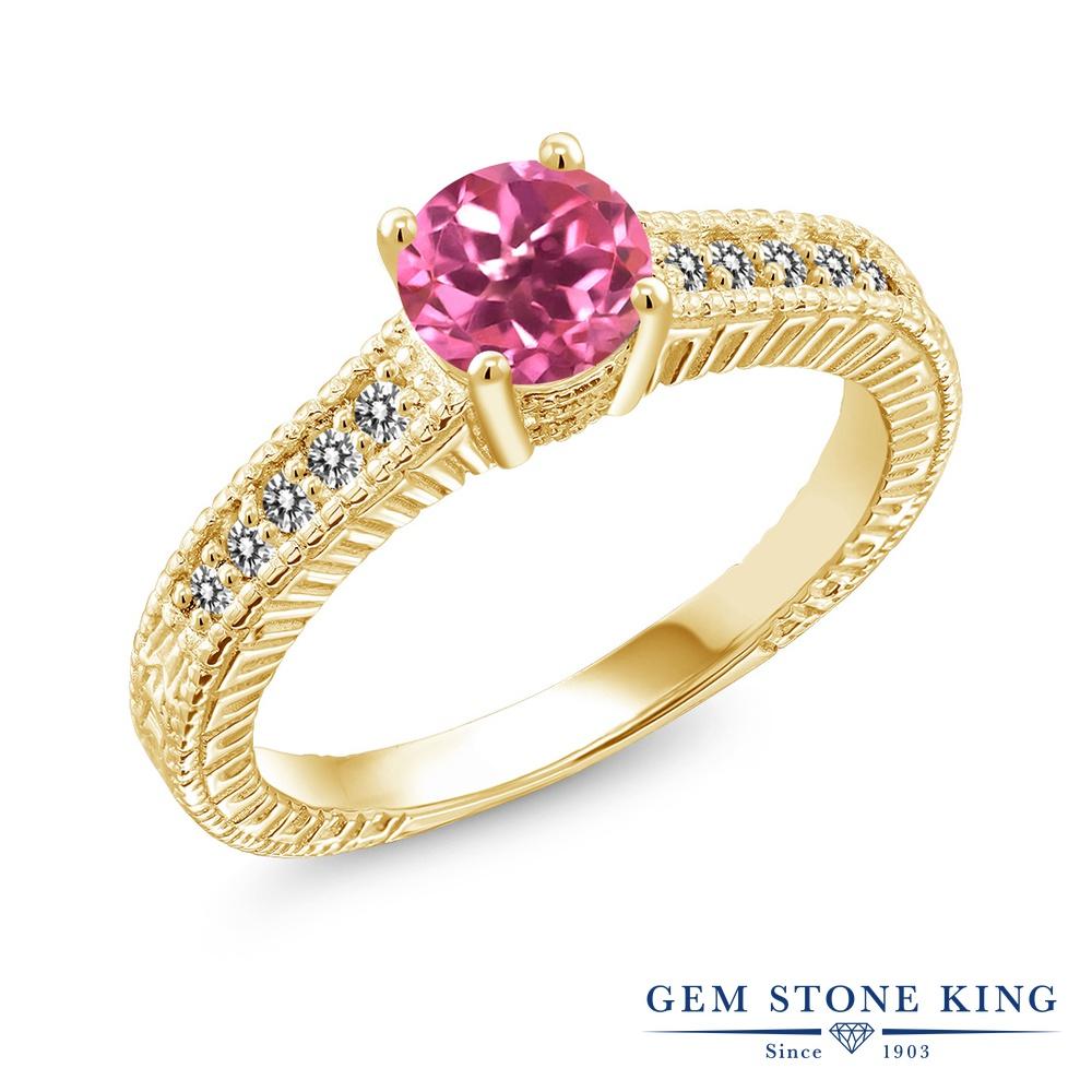 【10%OFF】 Gem Stone King 1.17カラット 天然 ミスティックトパーズ (ピンク) ダイヤモンド 指輪 リング レディース シルバー925 イエローゴールド 加工 大粒 マルチストーン 天然石 クリスマスプレゼント 女性 彼女 妻 誕生日