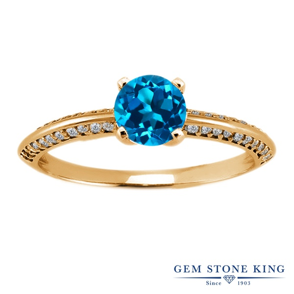 Gem Stone King 1.13カラット 天然 ロンドンブルートパーズ シルバー925 イエローゴールドコーティング 指輪 リング レディース 天然石 11月 誕生石 金属アレルギー対応 誕生日プレゼント