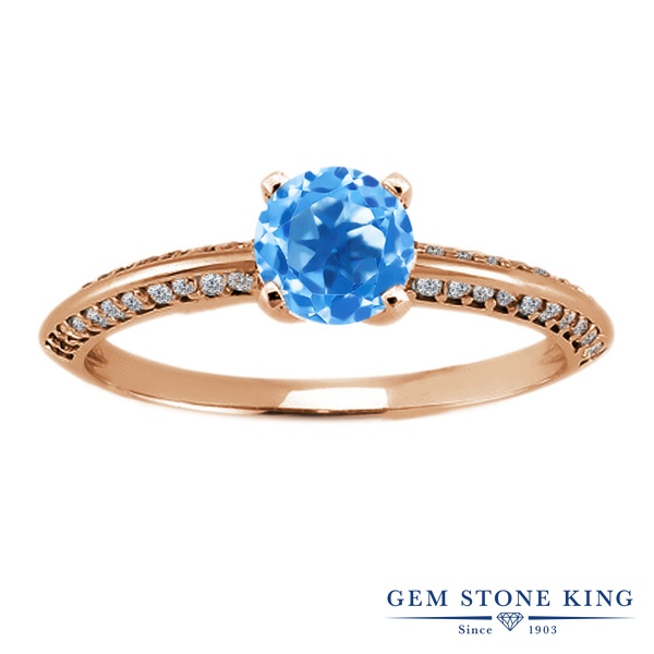 Gem Stone King 1.18カラット 天然 スイスブルートパーズ シルバー925 ピンクゴールドコーティング 指輪 リング レディース 天然石 11月 誕生石 金属アレルギー対応 誕生日プレゼント