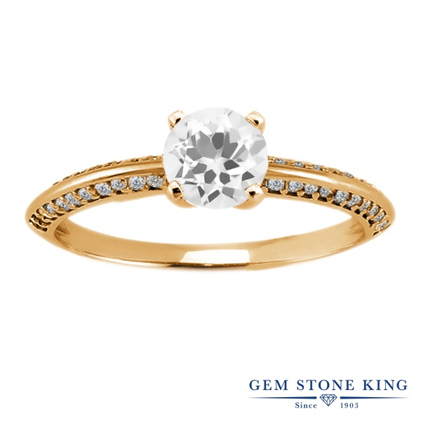 Gem Stone King 1.18カラット 天然 トパーズ (無色透明) シルバー925 イエローゴールドコーティング 指輪 リング レディース 天然石 11月 誕生石 金属アレルギー対応 誕生日プレゼント