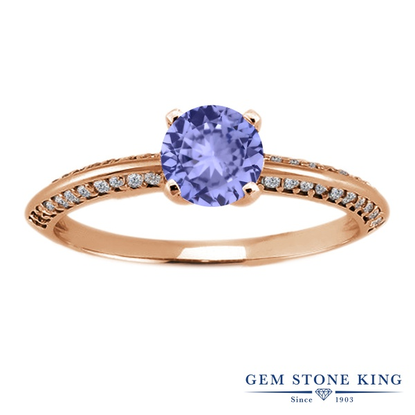 1.04カラット 天然石 タンザナイト 指輪 レディース リング ピンクゴールド 加工 シルバー925 ブランド おしゃれ 青 小粒 12月 誕生石 プレゼント 女性 彼女 妻 誕生日