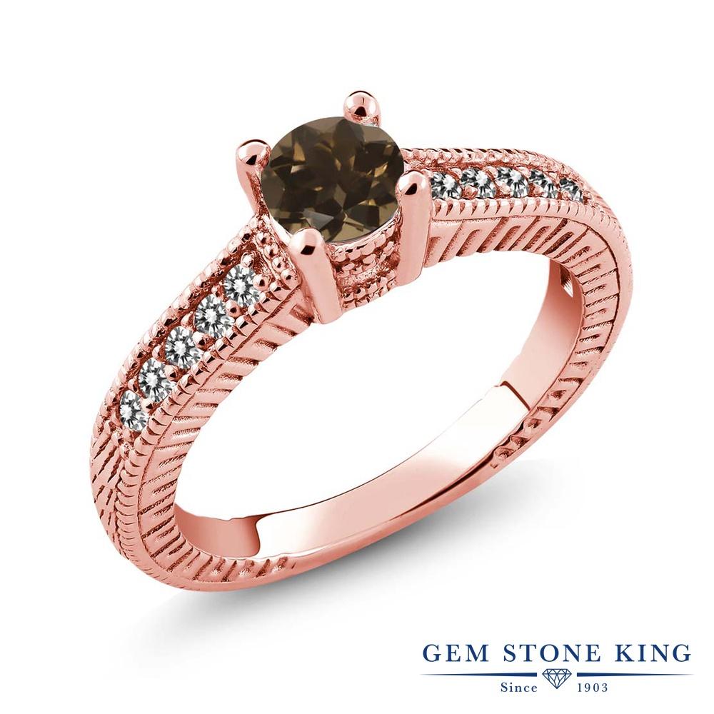 Gem Stone King 0.63カラット 天然 スモーキークォーツ (ブラウン) 天然 ダイヤモンド シルバー925 ピンクゴールドコーティング 指輪 リング レディース 小粒 マルチストーン 天然石 金属アレルギー対応 誕生日プレゼント
