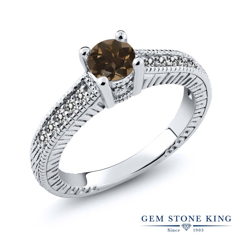 Gem Stone King 0.63カラット 天然 スモーキークォーツ (ブラウン) 天然 ダイヤモンド シルバー925 指輪 リング レディース 小粒 マルチストーン 天然石 金属アレルギー対応 婚約指輪 エンゲージリング