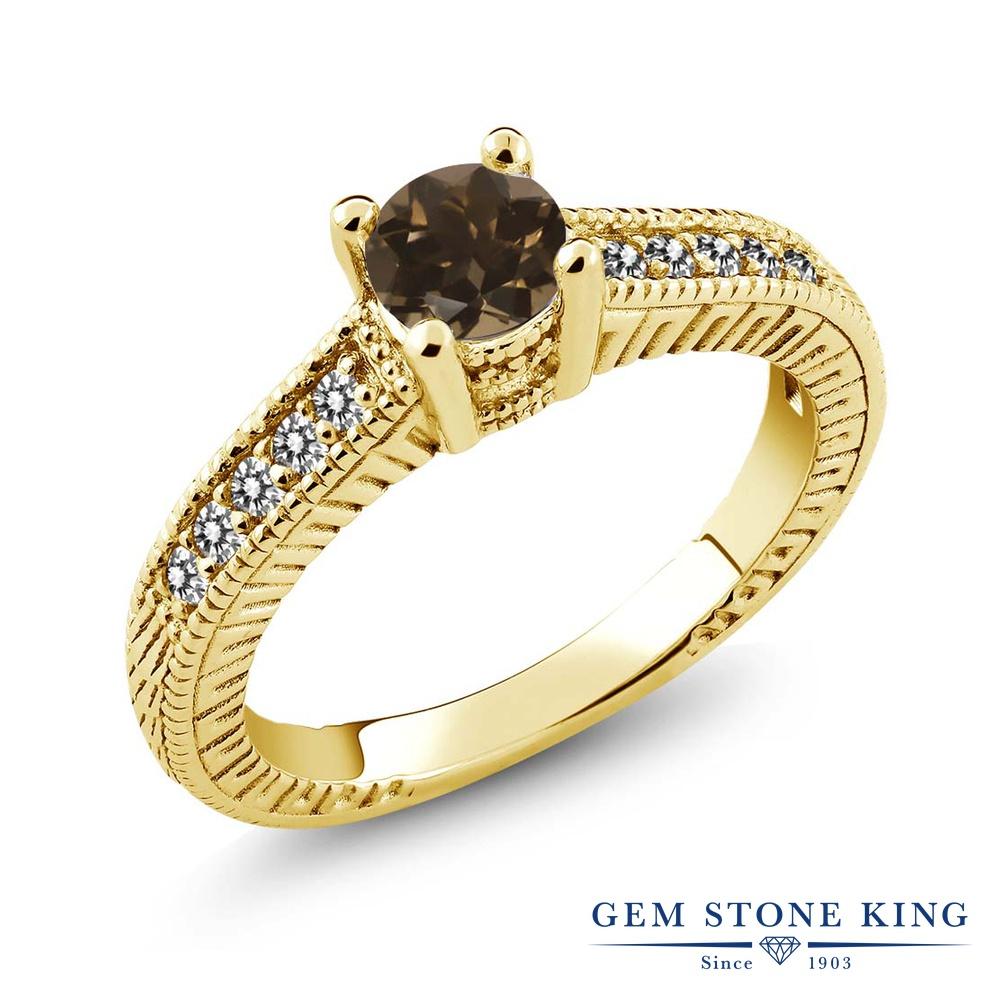 Gem Stone King 0.63カラット 天然 スモーキークォーツ (ブラウン) 天然 ダイヤモンド シルバー925 イエローゴールドコーティング 指輪 リング レディース 小粒 マルチストーン 天然石 金属アレルギー対応 誕生日プレゼント