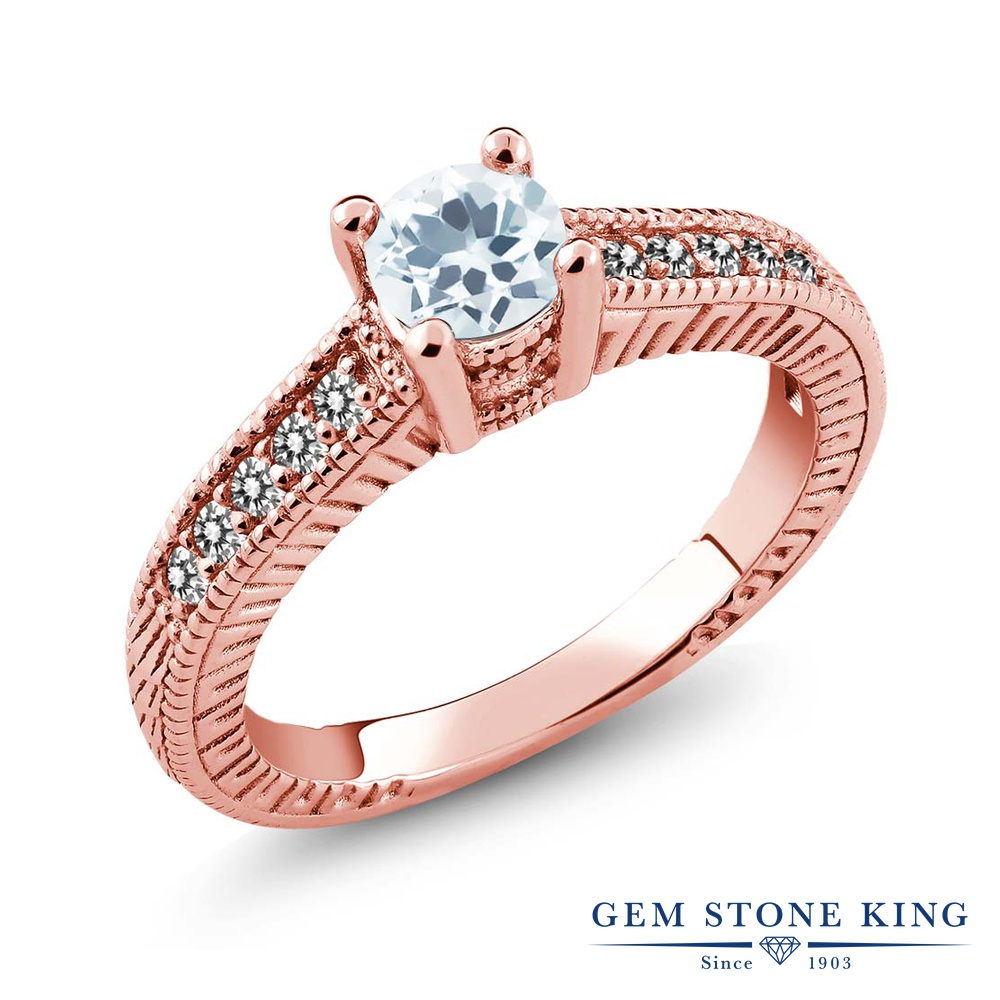 Gem Stone King 0.62カラット 天然 アクアマリン 天然 ダイヤモンド シルバー925 ピンクゴールドコーティング 指輪 リング レディース 小粒 マルチストーン 天然石 3月 誕生石 金属アレルギー対応 誕生日プレゼント