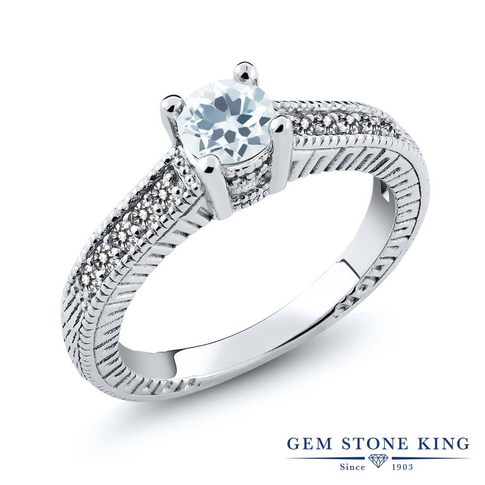 Gem Stone King 0.62カラット 天然 アクアマリン 天然 ダイヤモンド シルバー925 指輪 リング レディース 小粒 マルチストーン 天然石 3月 誕生石 金属アレルギー対応 誕生日プレゼント