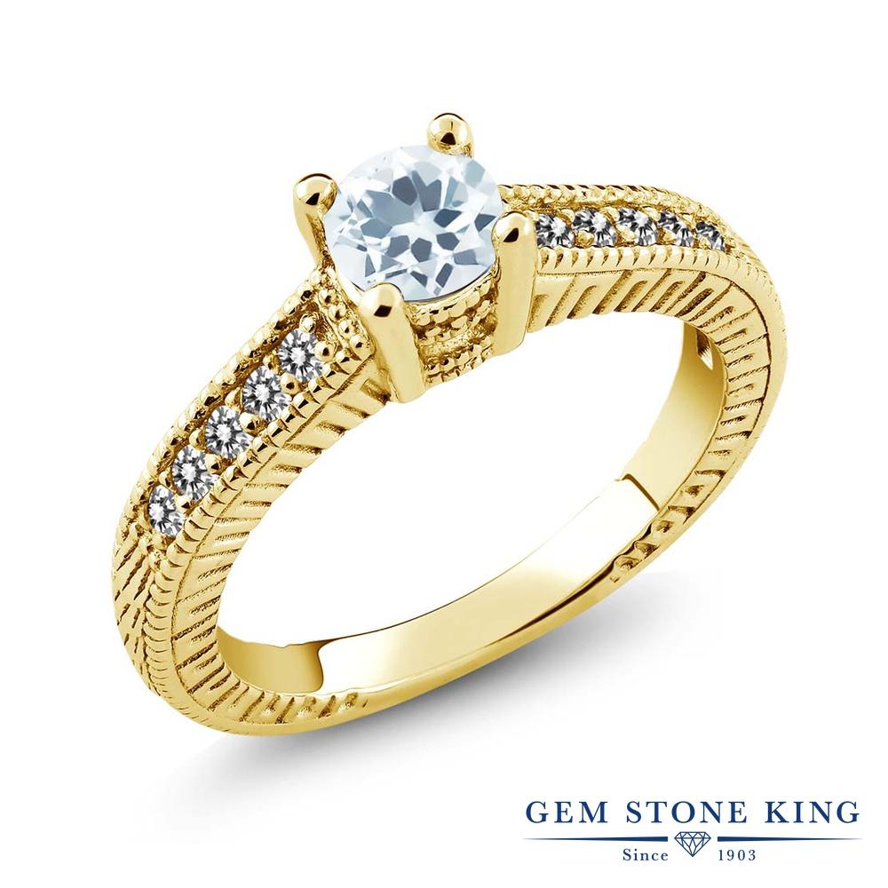 Gem Stone King 0.62カラット 天然 アクアマリン 天然 ダイヤモンド シルバー925 イエローゴールドコーティング 指輪 リング レディース 小粒 マルチストーン 天然石 3月 誕生石 金属アレルギー対応 誕生日プレゼント