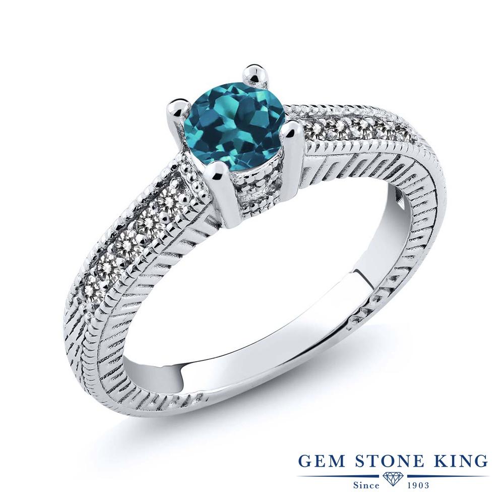 Gem Stone King 0.72カラット 天然 ロンドンブルートパーズ 天然 ダイヤモンド シルバー925 指輪 リング レディース マルチストーン 天然石 11月 誕生石 金属アレルギー対応 婚約指輪 エンゲージリング