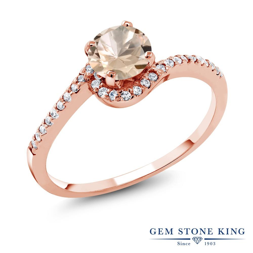Gem Stone King 0.98カラット 天然 モルガナイト (ピーチ) シルバー925 ピンクゴールドコーティング 指輪 リング レディース 天然石 3月 誕生石 金属アレルギー対応 誕生日プレゼント