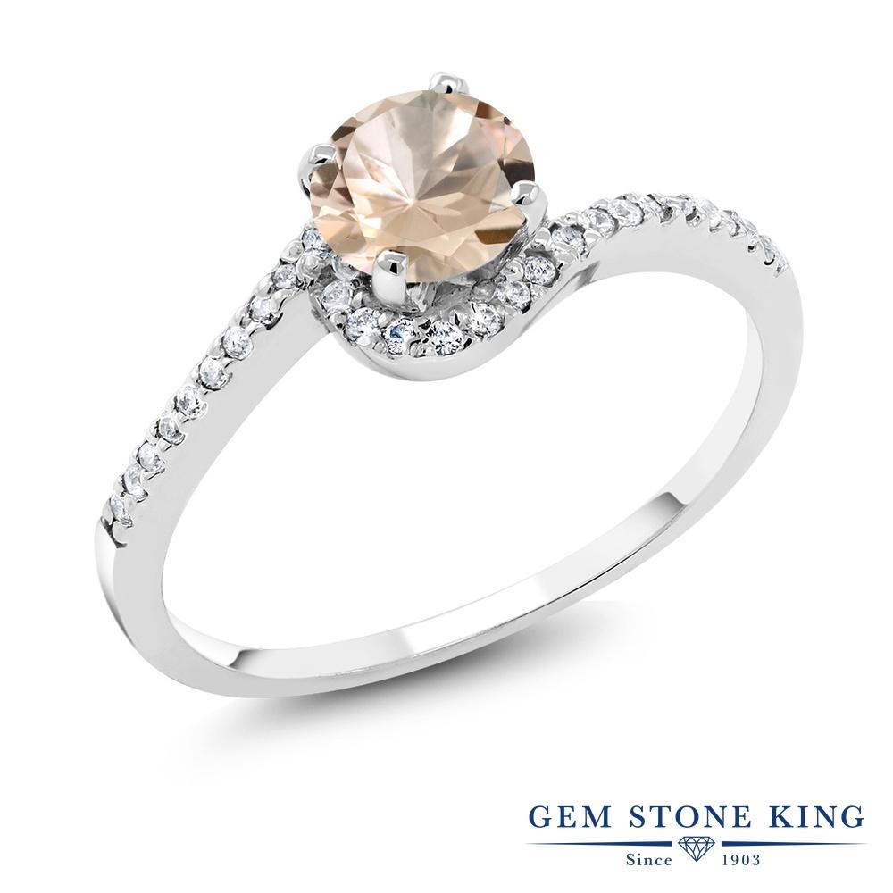 Gem Stone King 0.98カラット 天然 モルガナイト (ピーチ) シルバー925 指輪 リング レディース 天然石 3月 誕生石 金属アレルギー対応 誕生日プレゼント