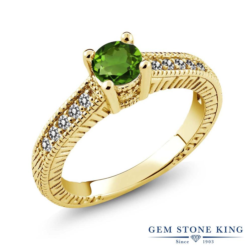 Gem Stone King 0.67カラット 天然 クロムダイオプサイド 天然 ダイヤモンド シルバー925 イエローゴールドコーティング 指輪 リング レディース 小粒 マルチストーン 天然石 金属アレルギー対応 誕生日プレゼント