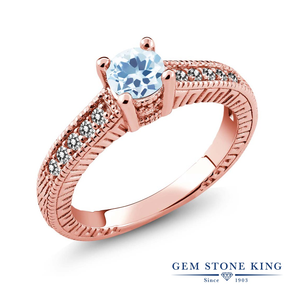 Gem Stone King 0.87カラット 天然 スカイブルートパーズ 天然 ダイヤモンド シルバー925 ピンクゴールドコーティング 指輪 リング レディース マルチストーン 天然石 11月 誕生石 金属アレルギー対応 誕生日プレゼント