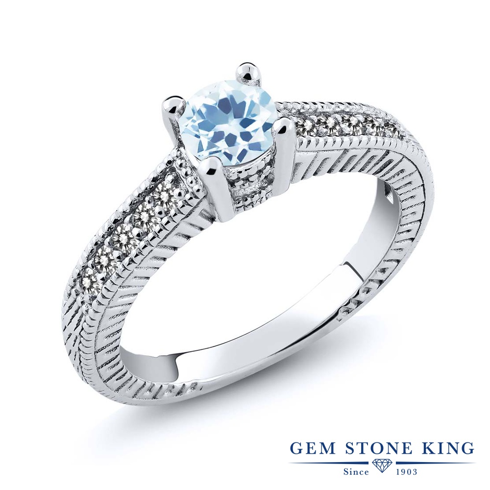 Gem Stone King 0.87カラット 天然 スカイブルートパーズ 天然 ダイヤモンド シルバー925 指輪 リング レディース マルチストーン 天然石 11月 誕生石 金属アレルギー対応 婚約指輪 エンゲージリング