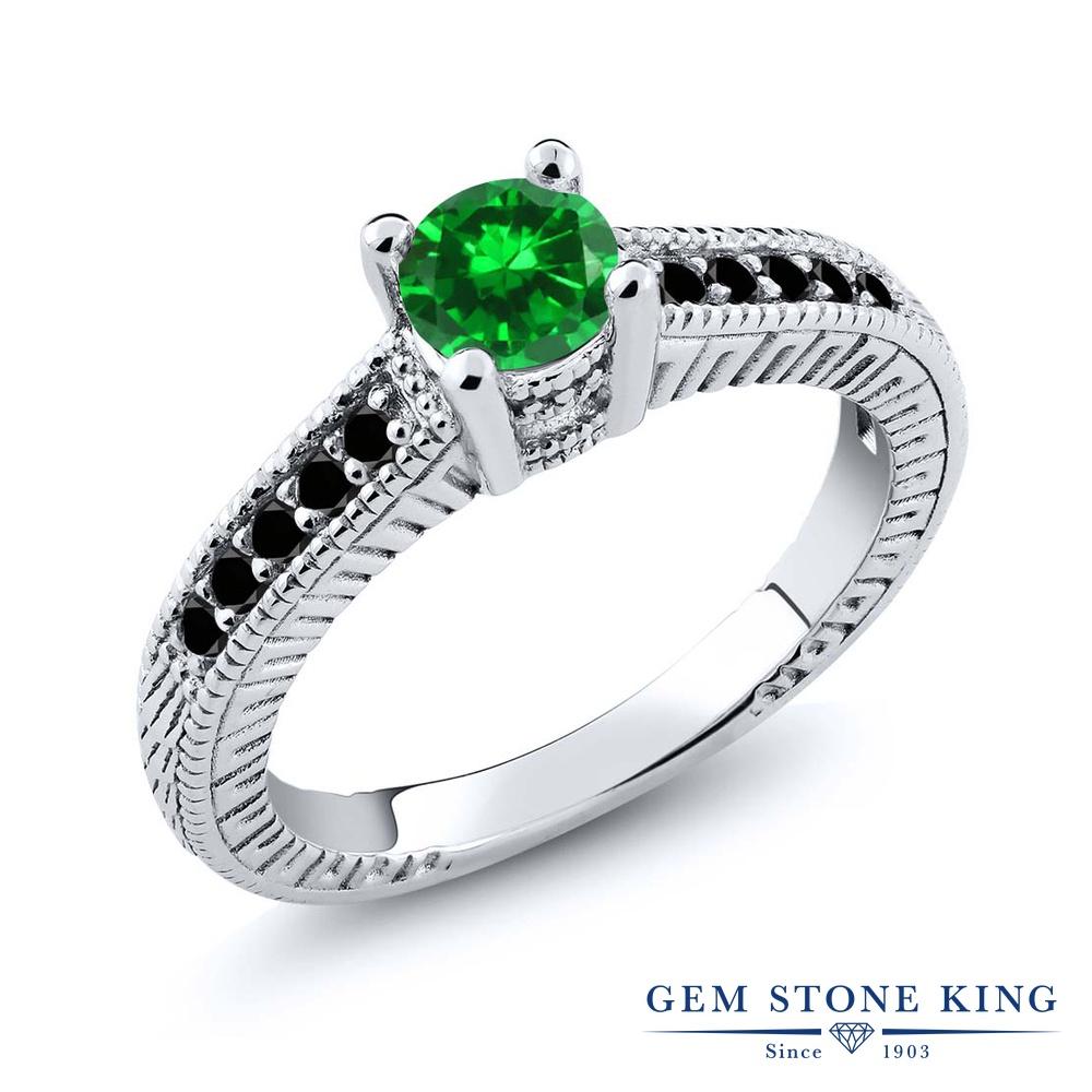 Gem Stone King 1.01カラット ナノエメラルド ブラックダイヤモンド 指輪 リング レディース シルバー925 マルチストーン 金属アレルギー対応