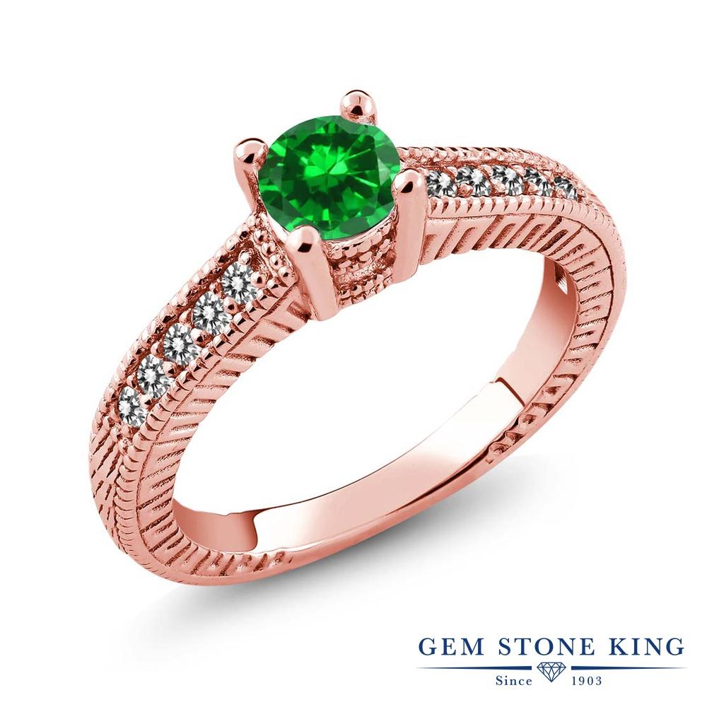 Gem Stone King 1.01カラット ナノエメラルド 天然 ダイヤモンド シルバー925 ピンクゴールドコーティング 指輪 リング レディース マルチストーン 金属アレルギー対応 誕生日プレゼント
