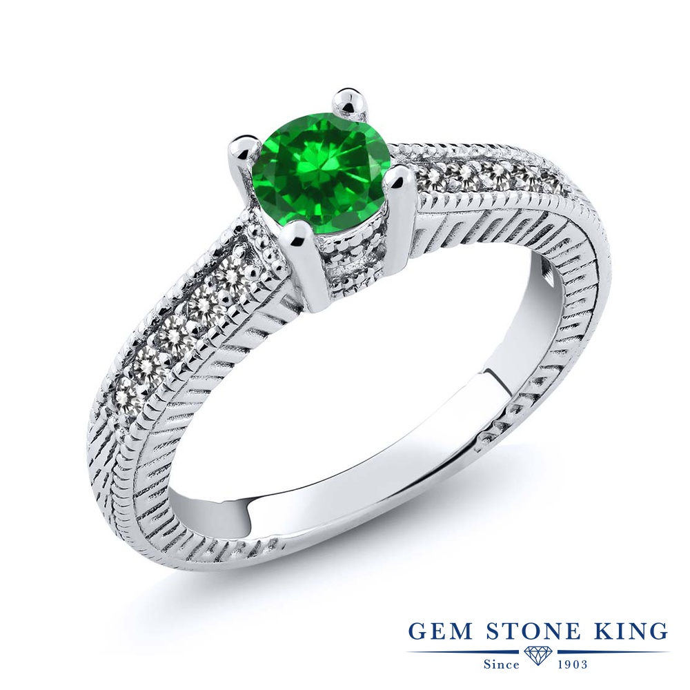 Gem Stone King 1.01カラット ナノエメラルド 天然 ダイヤモンド シルバー925 指輪 リング レディース マルチストーン 金属アレルギー対応 誕生日プレゼント