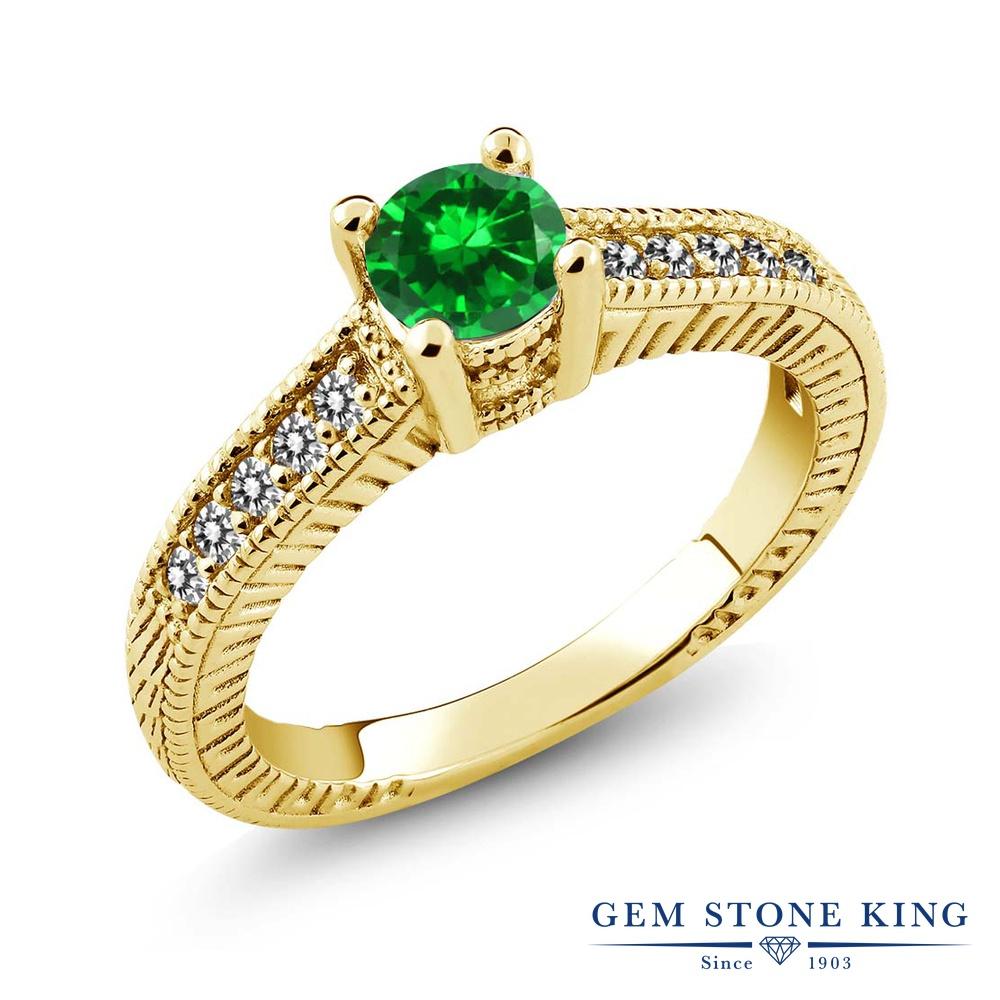 Gem Stone King 1.01カラット ナノエメラルド 天然 ダイヤモンド シルバー925 イエローゴールドコーティング 指輪 リング レディース マルチストーン 金属アレルギー対応 誕生日プレゼント