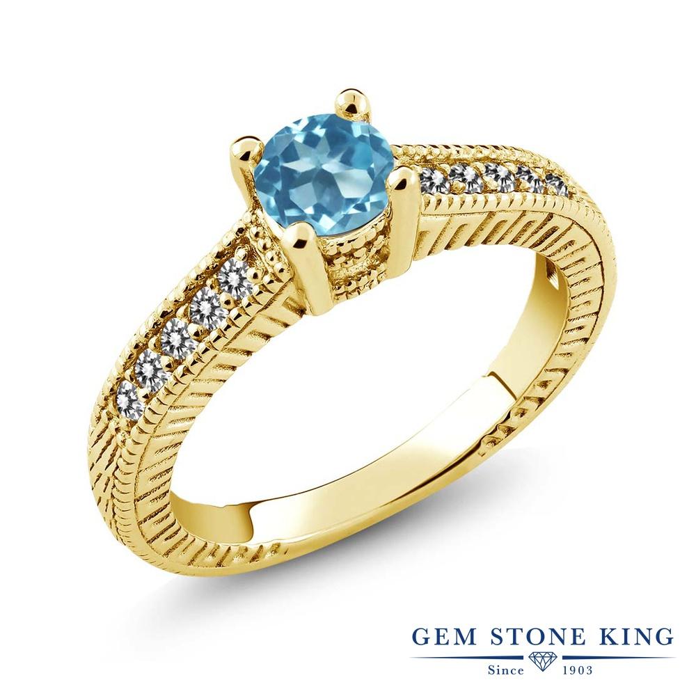 Gem Stone King 0.77カラット 天然 スイスブルートパーズ 天然 ダイヤモンド シルバー925 イエローゴールドコーティング 指輪 リング レディース マルチストーン 天然石 11月 誕生石 金属アレルギー対応 誕生日プレゼント