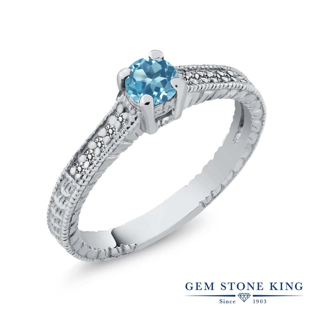 Gem Stone King 0.45カラット 天然 スイスブルートパーズ 天然 ダイヤモンド シルバー925 指輪 リング レディース 小粒 マルチストーン 華奢 細身 天然石 11月 誕生石 金属アレルギー対応 婚約指輪 エンゲージリング