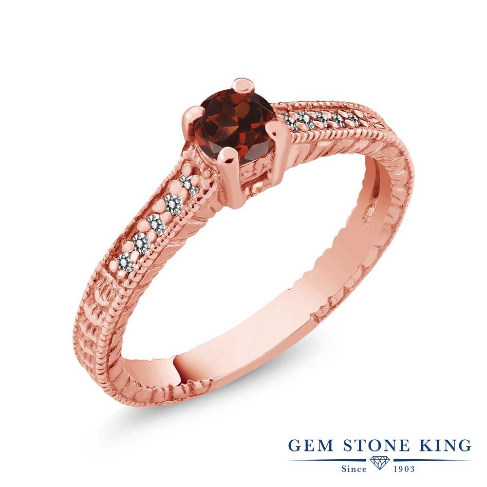 Gem Stone King 0.49カラット 天然 ガーネット 天然 ダイヤモンド シルバー925 ピンクゴールドコーティング 指輪 リング レディース 小粒 マルチストーン 華奢 細身 天然石 1月 誕生石 金属アレルギー対応 婚約指輪 エンゲージリング