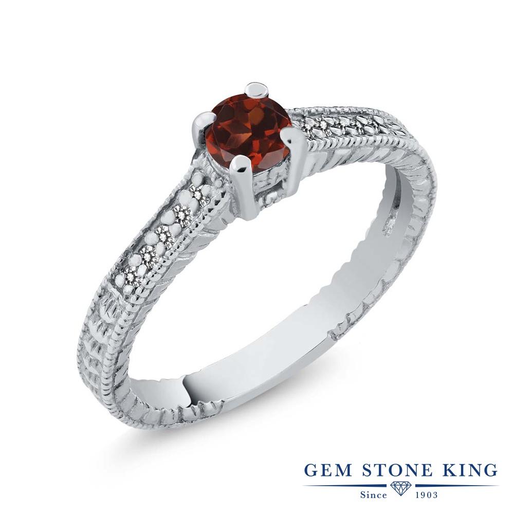0.49カラット 天然 ガーネット 指輪 レディース リング ダイヤモンド シルバー925 ブランド おしゃれ 細工 赤 小粒 マルチストーン 華奢 細身 天然石 1月 誕生石 婚約指輪 エンゲージリング
