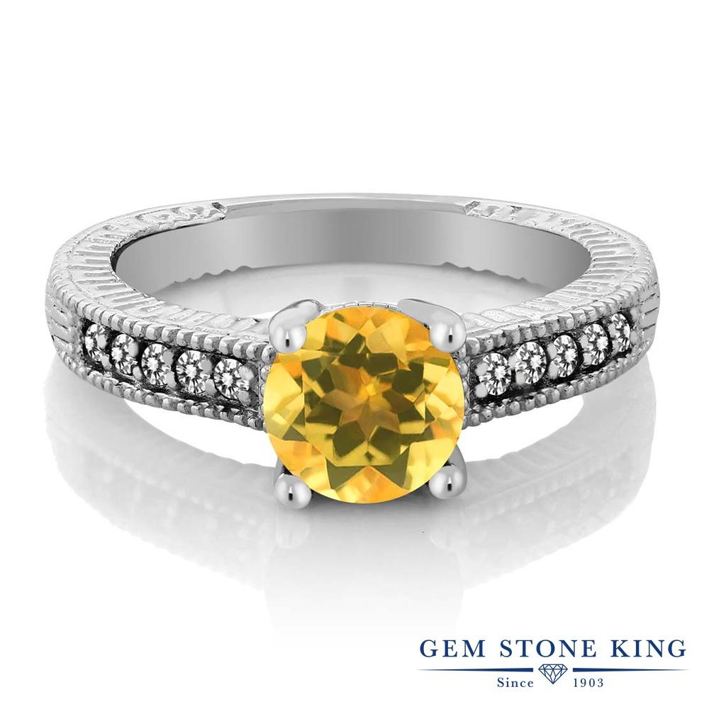 Gem Stone King 1.47カラット 天然 シトリン 天然 ダイヤモンド シルバー925 指輪 リング レディース 大粒 マルチストーン 天然石 11月 誕生石 金属アレルギー対応 婚約指輪 エンゲージリング