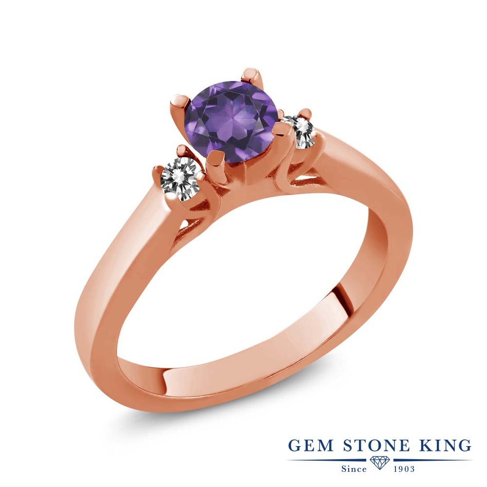 Gem Stone King 0.58カラット 天然 アメジスト 天然 ダイヤモンド シルバー925 ピンクゴールドコーティング 指輪 リング レディース 小粒 スリーストーン シンプル 天然石 2月 誕生石 金属アレルギー対応 誕生日プレゼント