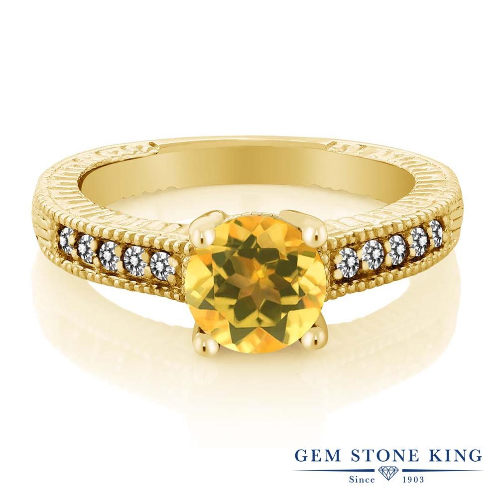 Gem Stone King 1.47カラット 天然 シトリン 天然 ダイヤモンド シルバー925 イエローゴールドコーティング 指輪 リング レディース 大粒 マルチストーン 天然石 11月 誕生石 金属アレルギー対応 誕生日プレゼント