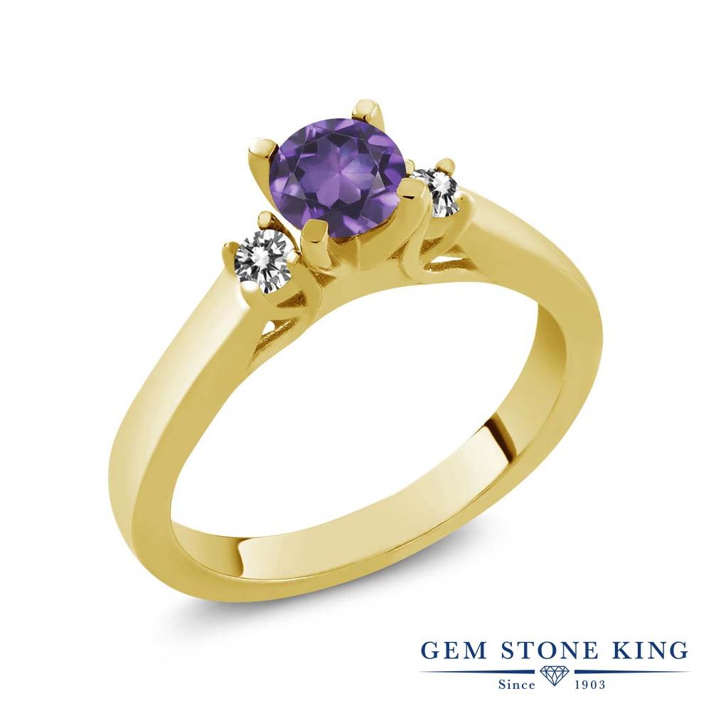 Gem Stone King 0.58カラット 天然 アメジスト 天然 ダイヤモンド シルバー925 イエローゴールドコーティング 指輪 リング レディース 小粒 スリーストーン シンプル 天然石 2月 誕生石 金属アレルギー対応 誕生日プレゼント