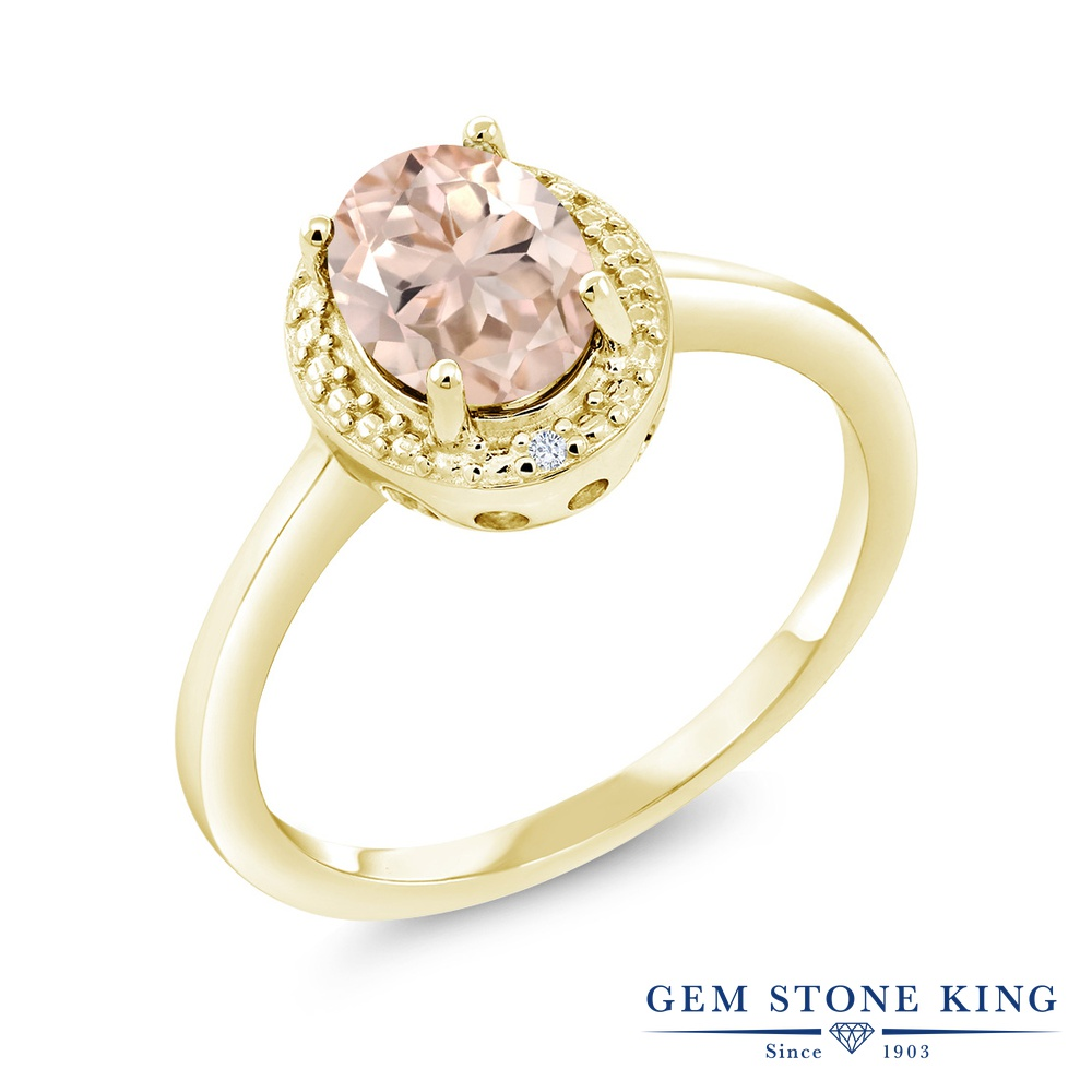 Gem Stone King 1.01カラット 天然 モルガナイト (ピーチ) 天然 ダイヤモンド シルバー925 イエローゴールドコーティング 指輪 リング レディース 大粒 シンプル ソリティア 天然石 3月 誕生石 金属アレルギー対応 誕生日プレゼント