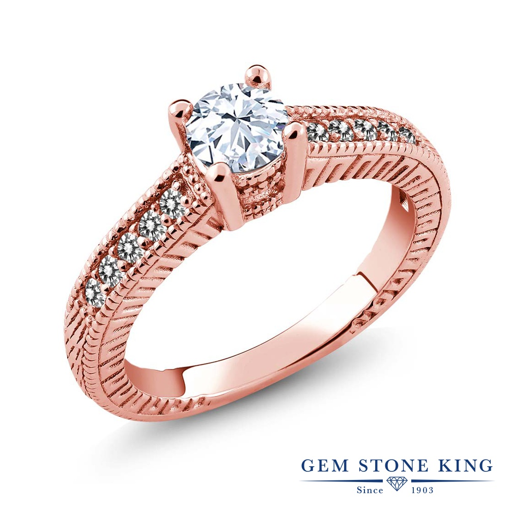 Gem Stone King 0.77カラット 天然 トパーズ (無色透明) 天然 ダイヤモンド シルバー925 ピンクゴールドコーティング 指輪 リング レディース マルチストーン 天然石 11月 誕生石 金属アレルギー対応 婚約指輪 エンゲージリング