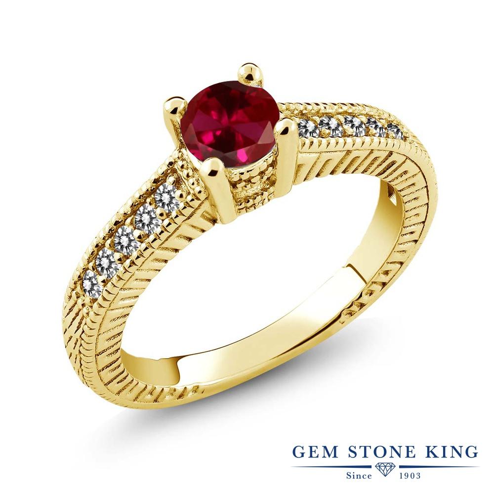 Gem Stone King 0.77カラット 合成ルビー 天然 ダイヤモンド シルバー925 イエローゴールドコーティング 指輪 リング レディース マルチストーン 金属アレルギー対応 誕生日プレゼント
