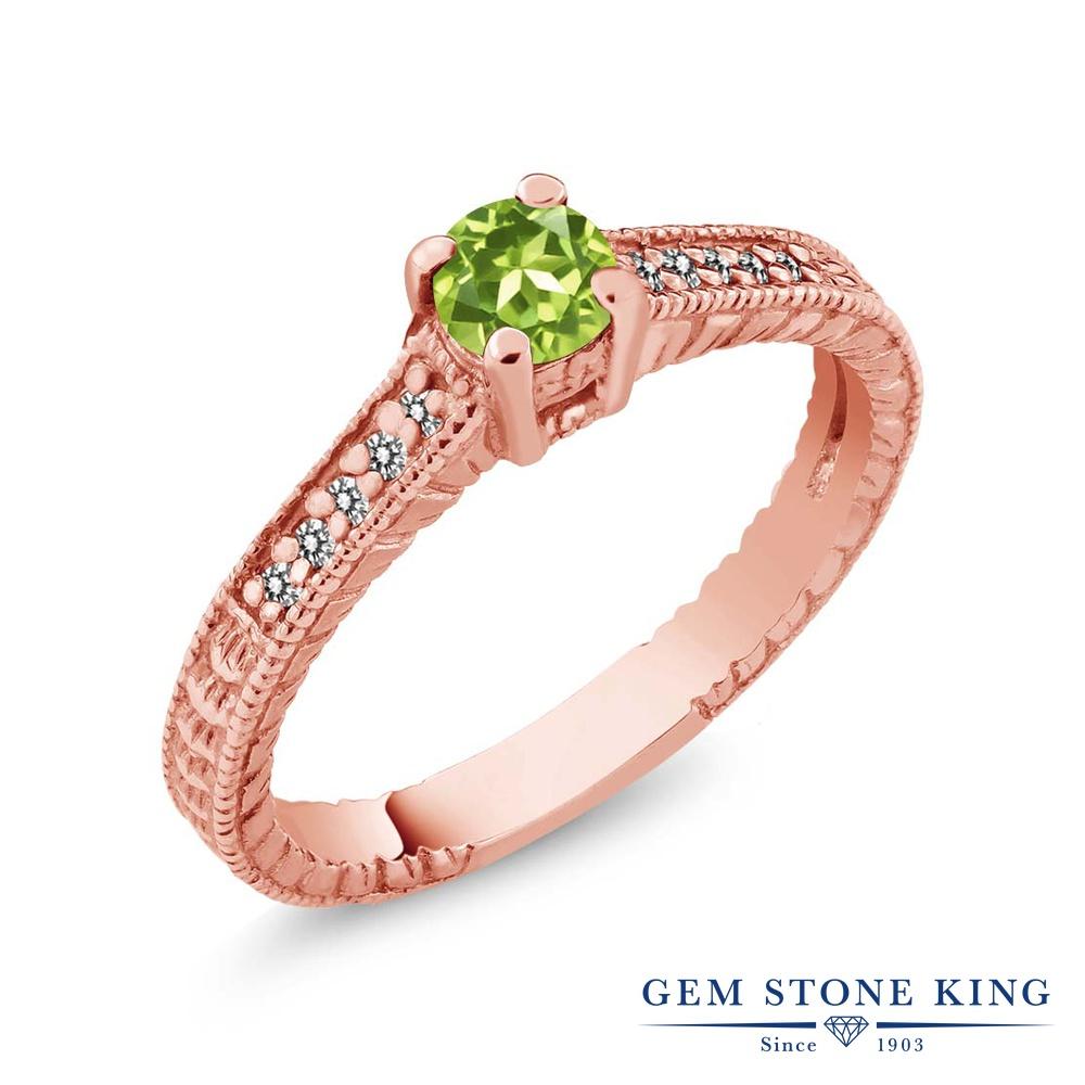 Gem Stone King 0.42カラット 天然石 ペリドット 天然 ダイヤモンド シルバー925 ピンクゴールドコーティング 指輪 リング レディース 小粒 マルチストーン 華奢 細身 天然石 8月 誕生石 金属アレルギー対応 誕生日プレゼント