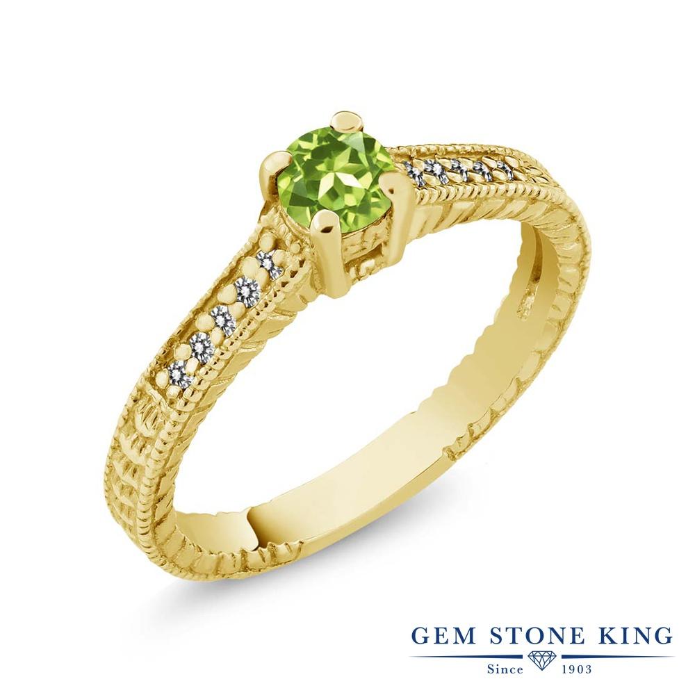Gem Stone King 0.42カラット 天然石 ペリドット 天然 ダイヤモンド シルバー925 イエローゴールドコーティング 指輪 リング レディース 小粒 マルチストーン 華奢 細身 天然石 8月 誕生石 金属アレルギー対応 誕生日プレゼント