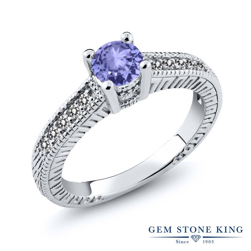 Gem Stone King 0.63カラット 天然石 タンザナイト 天然 ダイヤモンド シルバー925 指輪 リング レディース 小粒 マルチストーン 天然石 12月 誕生石 金属アレルギー対応 婚約指輪 エンゲージリング