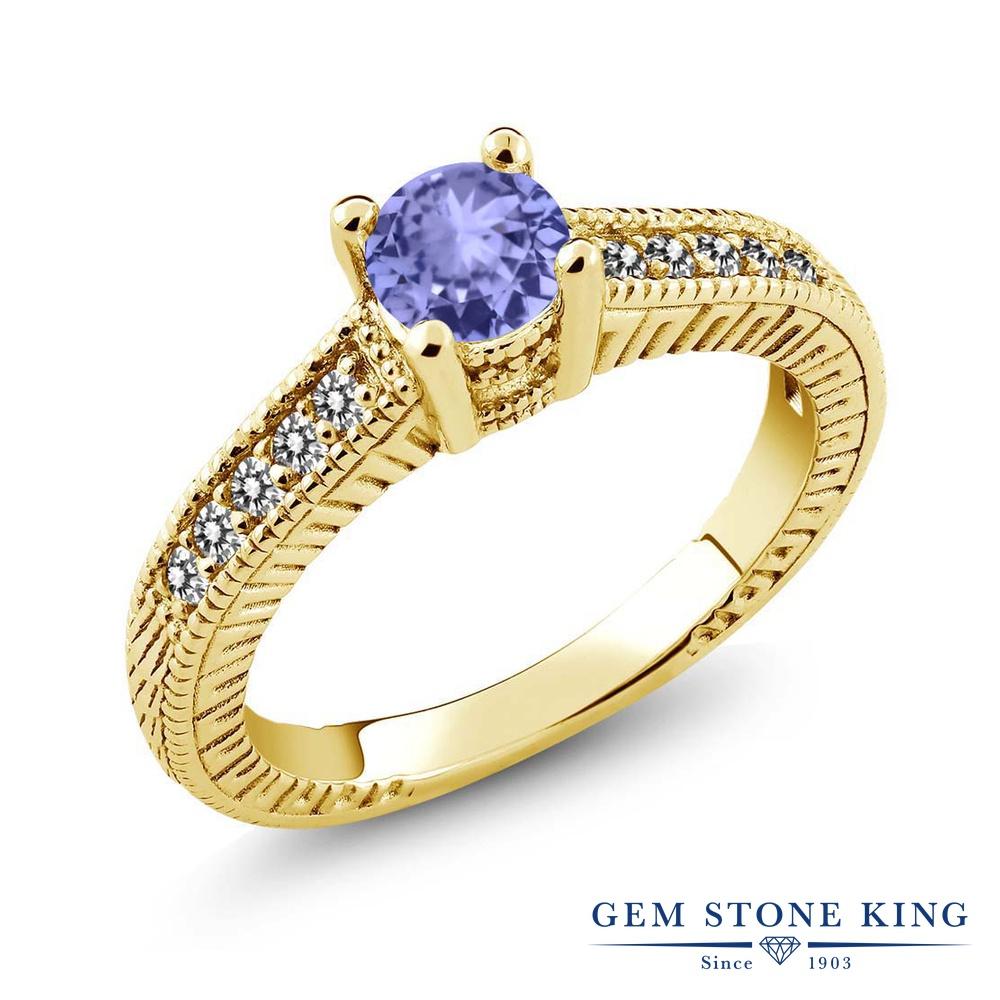 Gem Stone King 0.63カラット 天然石 タンザナイト 天然 ダイヤモンド シルバー925 イエローゴールドコーティング 指輪 リング レディース 小粒 マルチストーン 天然石 12月 誕生石 金属アレルギー対応 誕生日プレゼント