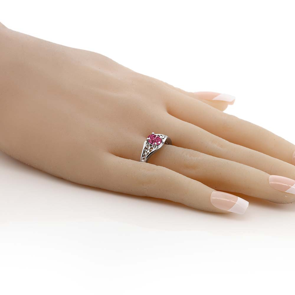 スワロフスキージルコニアレッド指輪 レディース リング シルバー925 ブランド おしゃれ アラベスク 一粒 CZ 赤 小粒 シンプル ソリティア 金属アレルギー対応eoCBdrxW