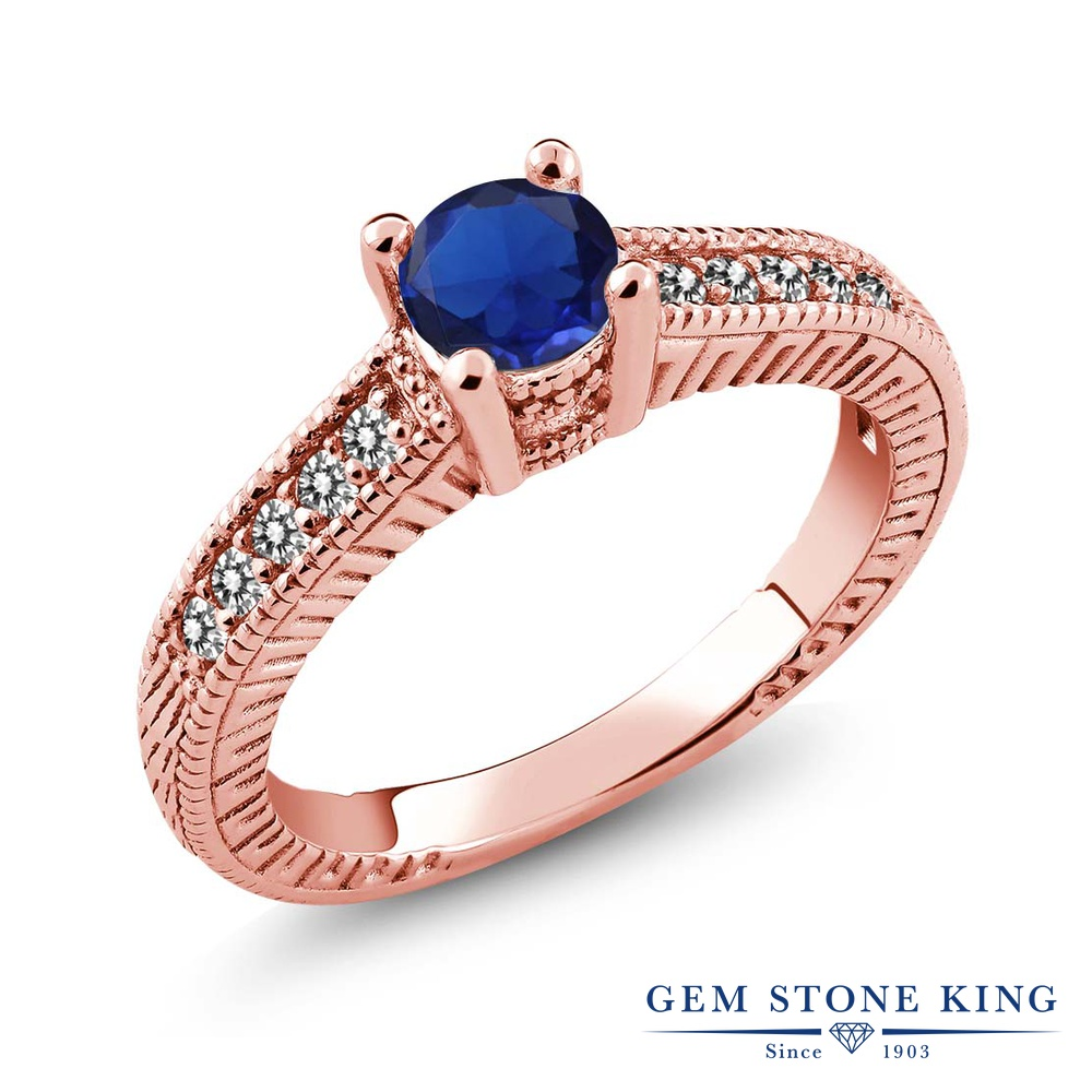 Gem Stone King 0.72カラット シミュレイテッド サファイア 天然 ダイヤモンド シルバー925 ピンクゴールドコーティング 指輪 リング レディース マルチストーン 金属アレルギー対応 誕生日プレゼント