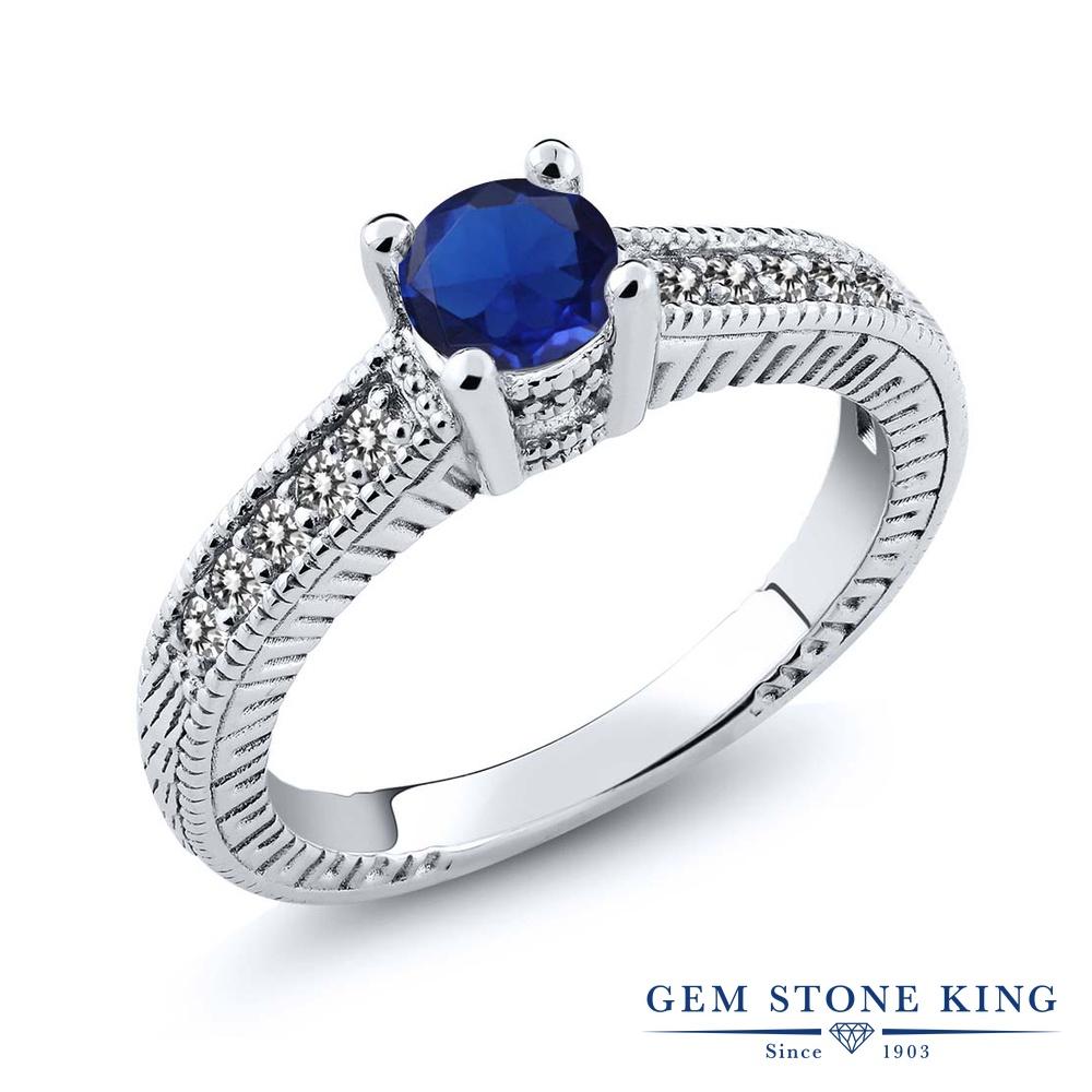 Gem Stone King 0.72カラット シミュレイテッド サファイア 天然 ダイヤモンド シルバー925 指輪 リング レディース マルチストーン 金属アレルギー対応 誕生日プレゼント