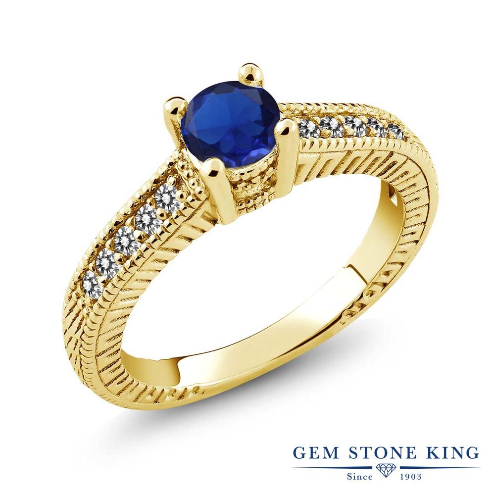 Gem Stone King 0.72カラット シミュレイテッド サファイア 天然 ダイヤモンド シルバー925 イエローゴールドコーティング 指輪 リング レディース マルチストーン 金属アレルギー対応 誕生日プレゼント