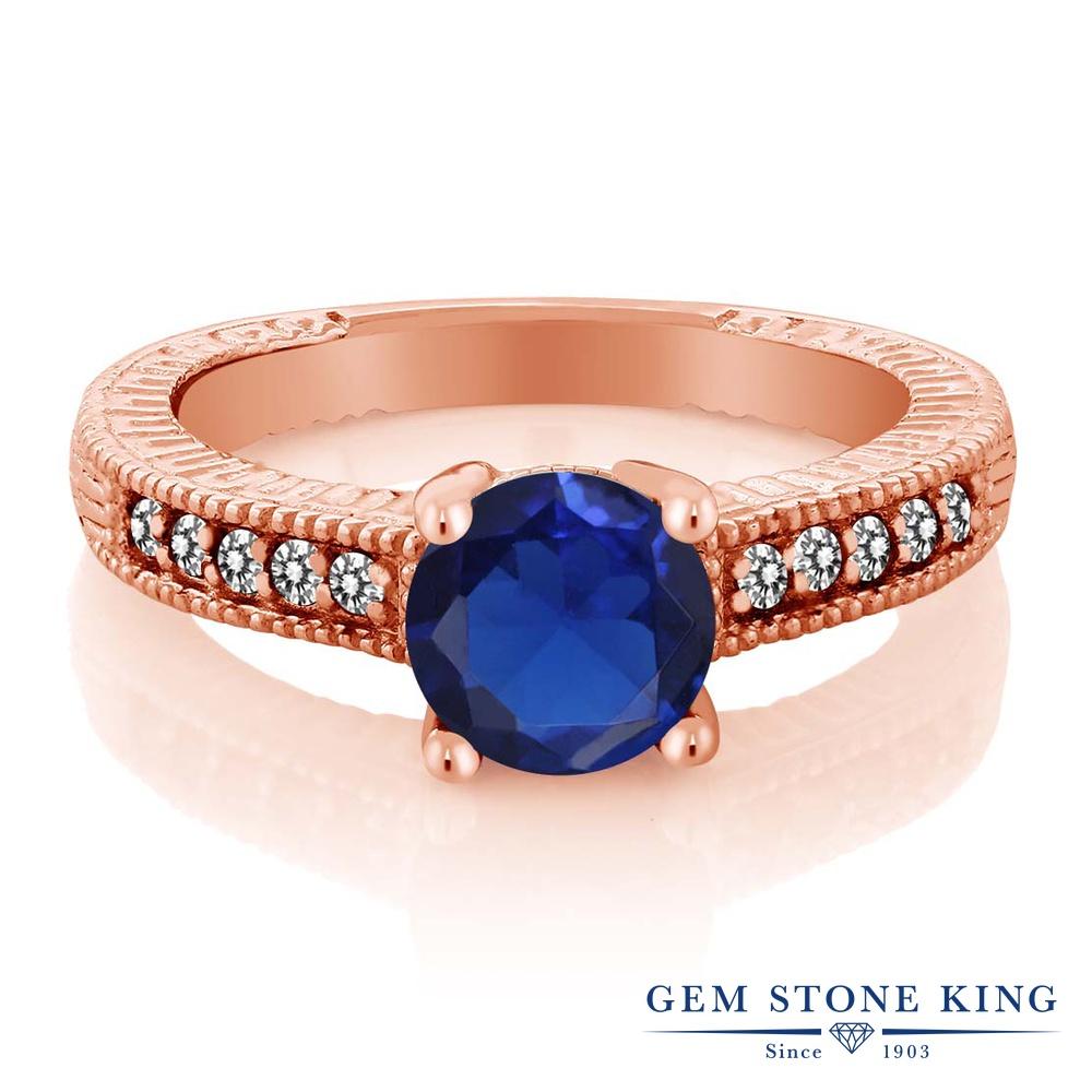 Gem Stone King 1.84カラット シミュレイテッド サファイア 天然 ダイヤモンド シルバー925 ピンクゴールドコーティング 指輪 リング レディース 大粒 マルチストーン 金属アレルギー対応 誕生日プレゼント